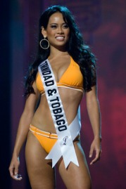 Anya Ayoung-Chee, Miss Trinidad & Tobago 2008 competes in BSC swimwear and Nina footwear during the Swimsuit segment of the 2008 Miss Universe Presentation Show at the Crown Convention Center, in Nha Trang on July 8, 2008. She will compete in the 57th annual Miss Universe competition which will take place in Nha Trang, Vietnam at the Crown Convention Center on July 14, 2008 at 8 AM UCT (airing LIVE on NBC in the United States on July 13, 2008 at 9 PM (ET/delayed PT). HO/Miss Universe L.P., LLLP